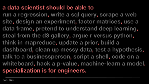 a data scientist should be able to (by Joel Grus)